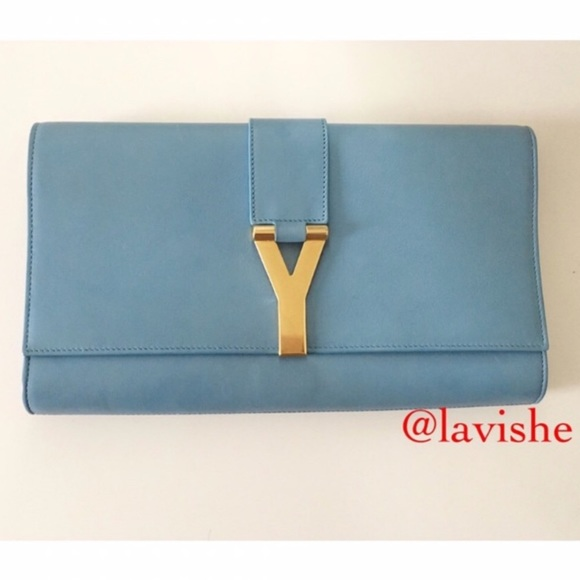 3137f74aa1 Yves Saint Laurent Bags | Ysl Glacier Blue Classic Y Leather Clutch ...